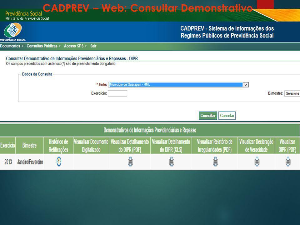 CADPREV – Web: Consultar Demonstrativo