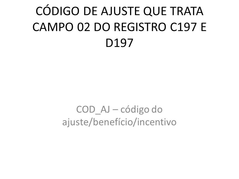 CÓDIGO DE AJUSTE QUE TRATA CAMPO 02 DO REGISTRO C197 E D197