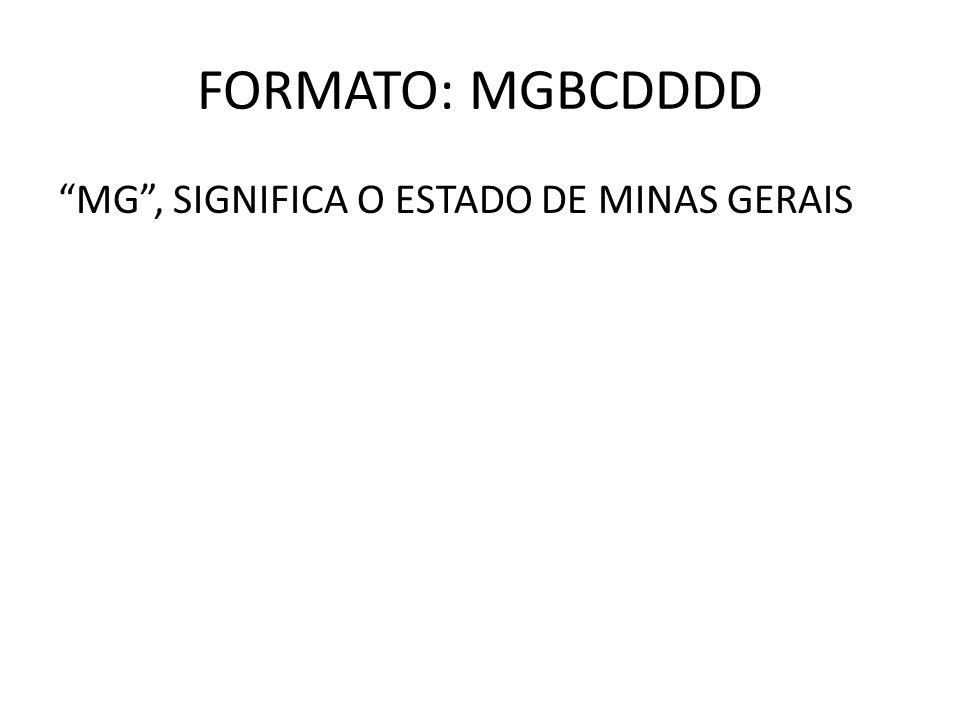 FORMATO: MGBCDDDD MG , SIGNIFICA O ESTADO DE MINAS GERAIS