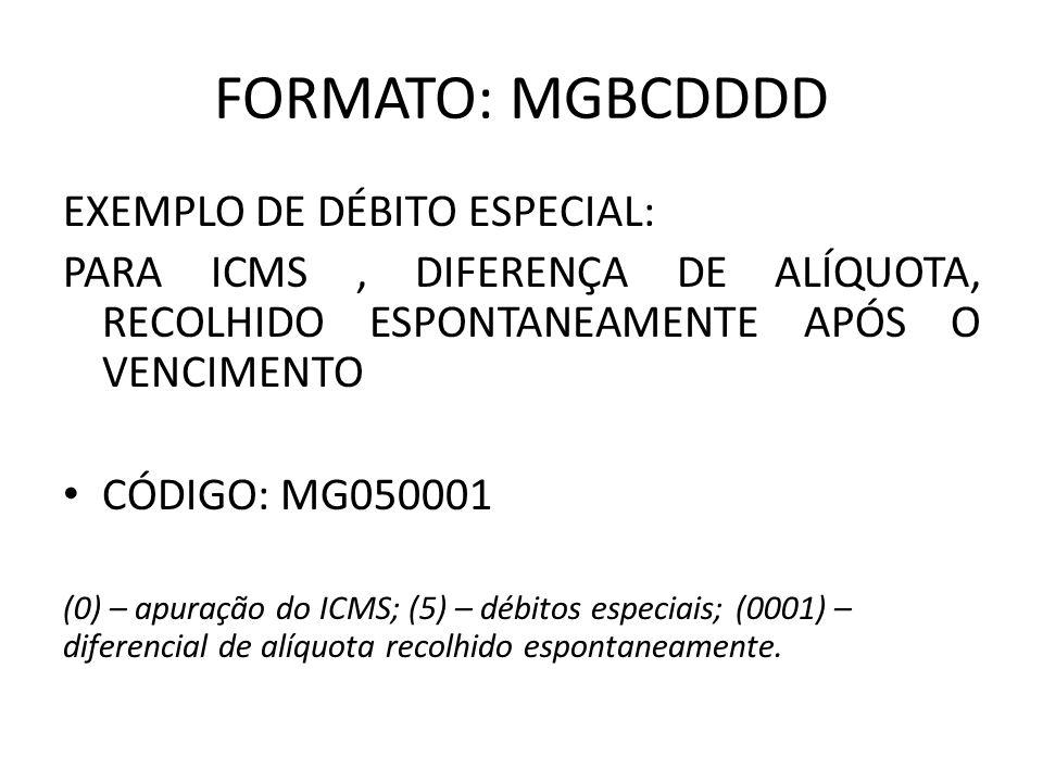 FORMATO: MGBCDDDD EXEMPLO DE DÉBITO ESPECIAL: