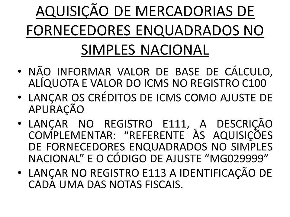 AQUISIÇÃO DE MERCADORIAS DE FORNECEDORES ENQUADRADOS NO SIMPLES NACIONAL