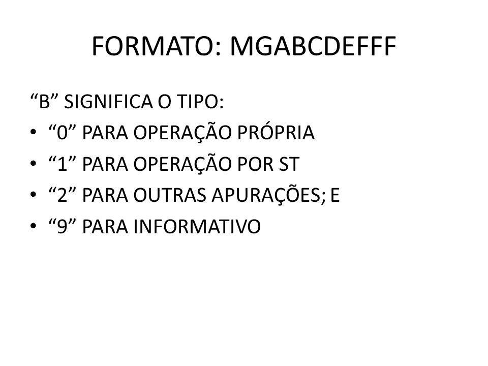 FORMATO: MGABCDEFFF B SIGNIFICA O TIPO: 0 PARA OPERAÇÃO PRÓPRIA