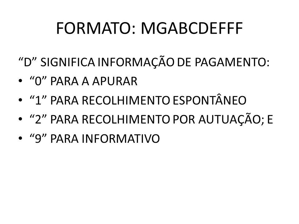 FORMATO: MGABCDEFFF D SIGNIFICA INFORMAÇÃO DE PAGAMENTO: