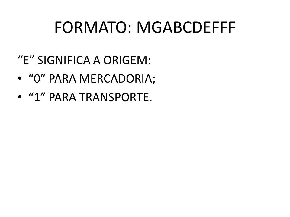 FORMATO: MGABCDEFFF E SIGNIFICA A ORIGEM: 0 PARA MERCADORIA;