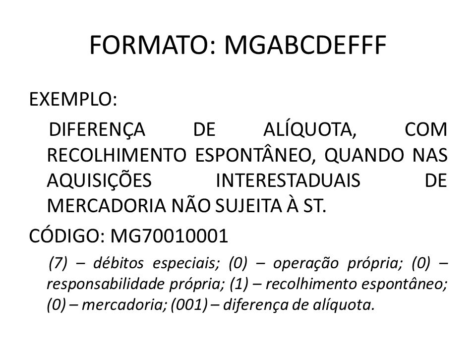 FORMATO: MGABCDEFFF EXEMPLO: