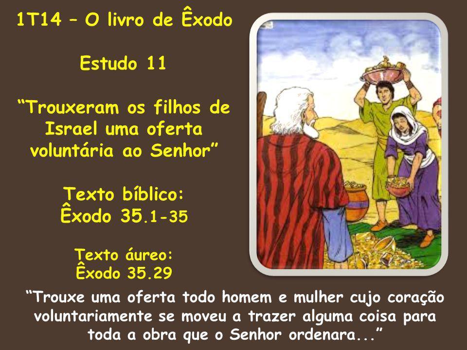 Trouxeram os filhos de Israel uma oferta voluntária ao Senhor