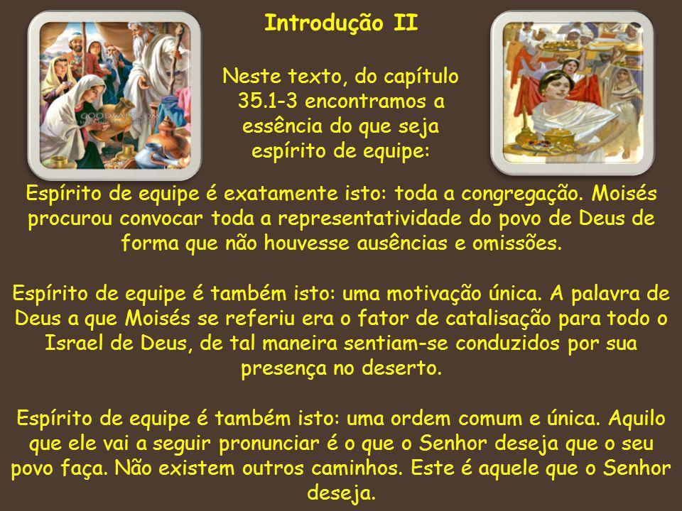 Introdução II Neste texto, do capítulo 35.1-3 encontramos a essência do que seja espírito de equipe: