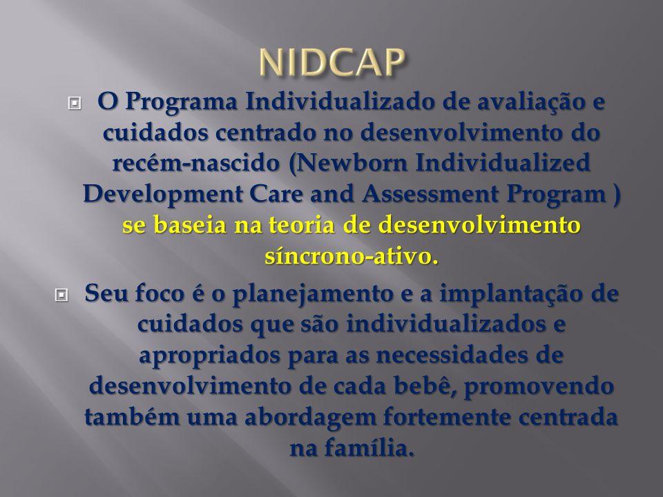 O Programa Individualizado de avaliação e cuidados centrado no desenvolvimento do recém-nascido (Newborn Individualized Development Care and Assessment Program ) se baseia na teoria de desenvolvimento síncrono-ativo.