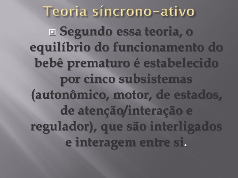 Segundo essa teoria, o equilíbrio do funcionamento do bebê prematuro é estabelecido por cinco subsistemas (autonômico, motor, de estados, de atenção/interação e regulador), que são interligados e interagem entre si.