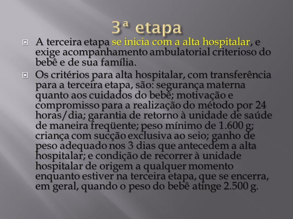 A terceira etapa se inicia com a alta hospitalar, e exige acompanhamento ambulatorial criterioso do bebê e de sua família.