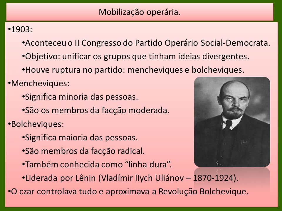 Mobilização operária. 1903: Aconteceu o II Congresso do Partido Operário Social-Democrata.