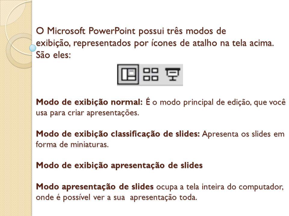 O Microsoft PowerPoint possui três modos de exibição, representados por ícones de atalho na tela acima.