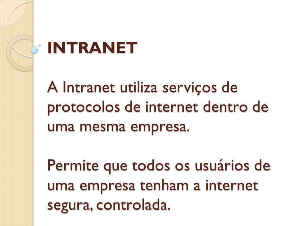 INTRANET A Intranet utiliza serviços de protocolos de internet dentro de uma mesma empresa.