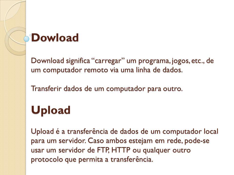 Dowload Download significa carregar um programa, jogos, etc