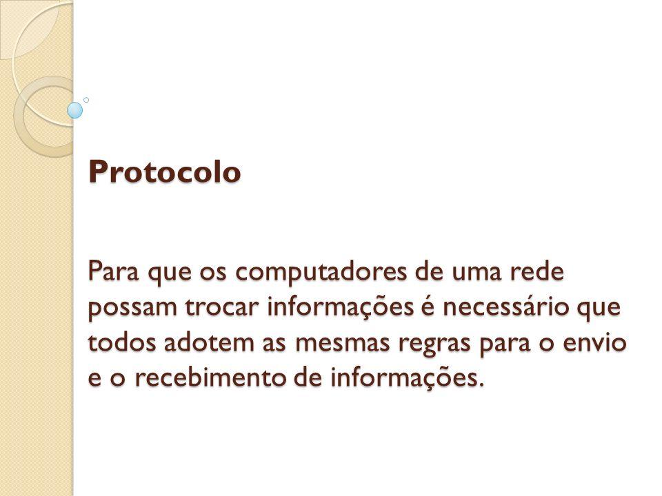 Protocolo Para que os computadores de uma rede possam trocar informações é necessário que todos adotem as mesmas regras para o envio e o recebimento de informações.