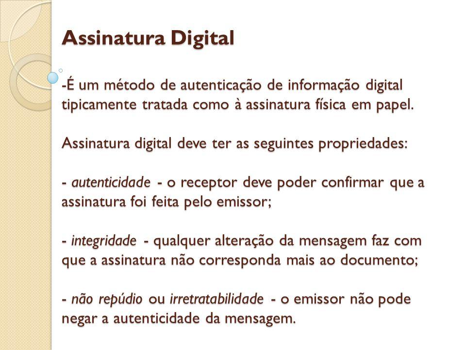 Assinatura Digital -É um método de autenticação de informação digital tipicamente tratada como à assinatura física em papel.