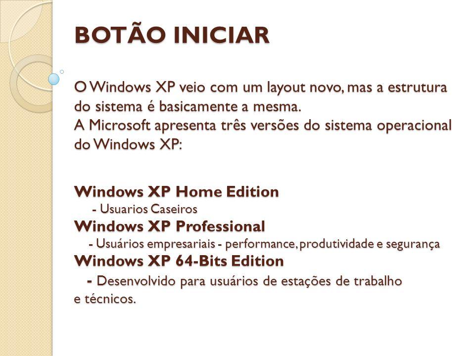 BOTÃO INICIAR O Windows XP veio com um layout novo, mas a estrutura do sistema é basicamente a mesma.
