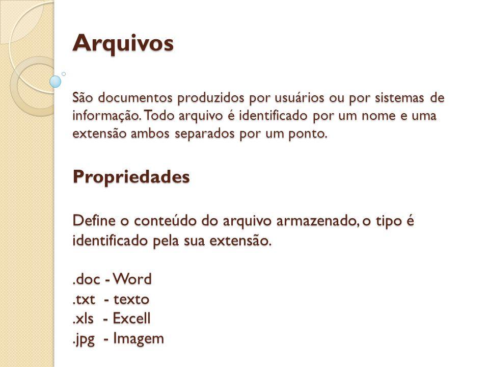 Arquivos São documentos produzidos por usuários ou por sistemas de informação.