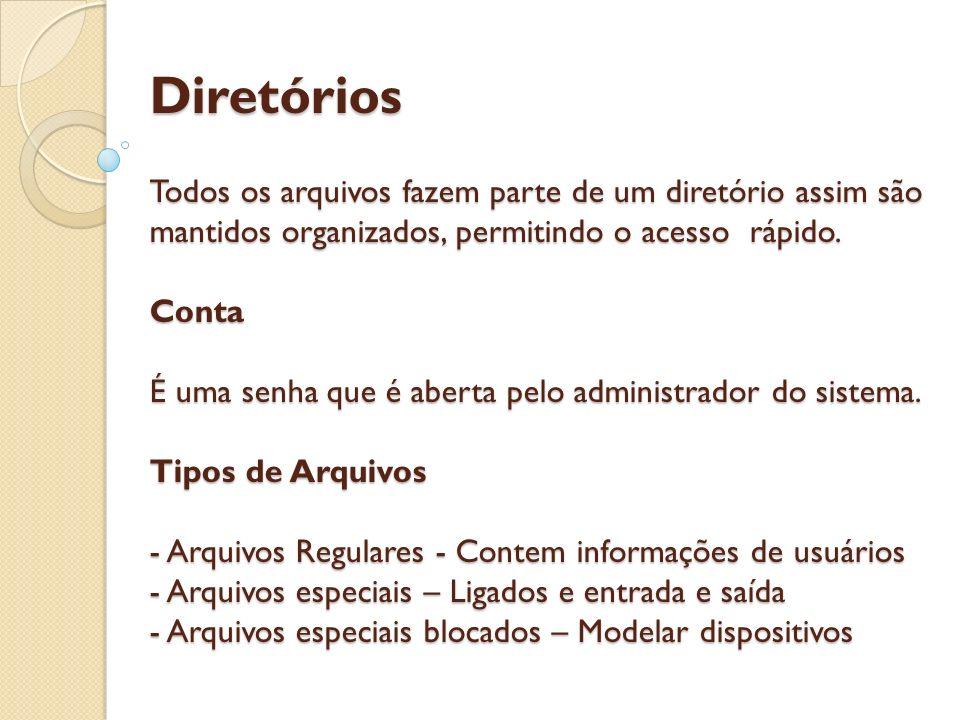 Diretórios Todos os arquivos fazem parte de um diretório assim são mantidos organizados, permitindo o acesso rápido.
