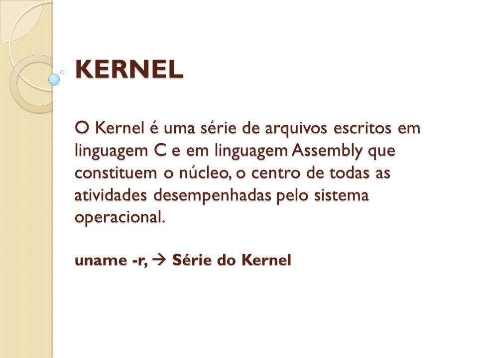 KERNEL O Kernel é uma série de arquivos escritos em linguagem C e em linguagem Assembly que constituem o núcleo, o centro de todas as atividades desempenhadas pelo sistema operacional.