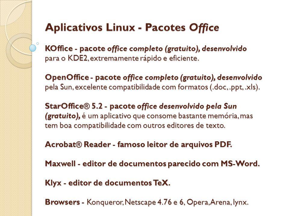 Aplicativos Linux - Pacotes Office KOffice - pacote office completo (gratuito), desenvolvido para o KDE2, extremamente rápido e eficiente.