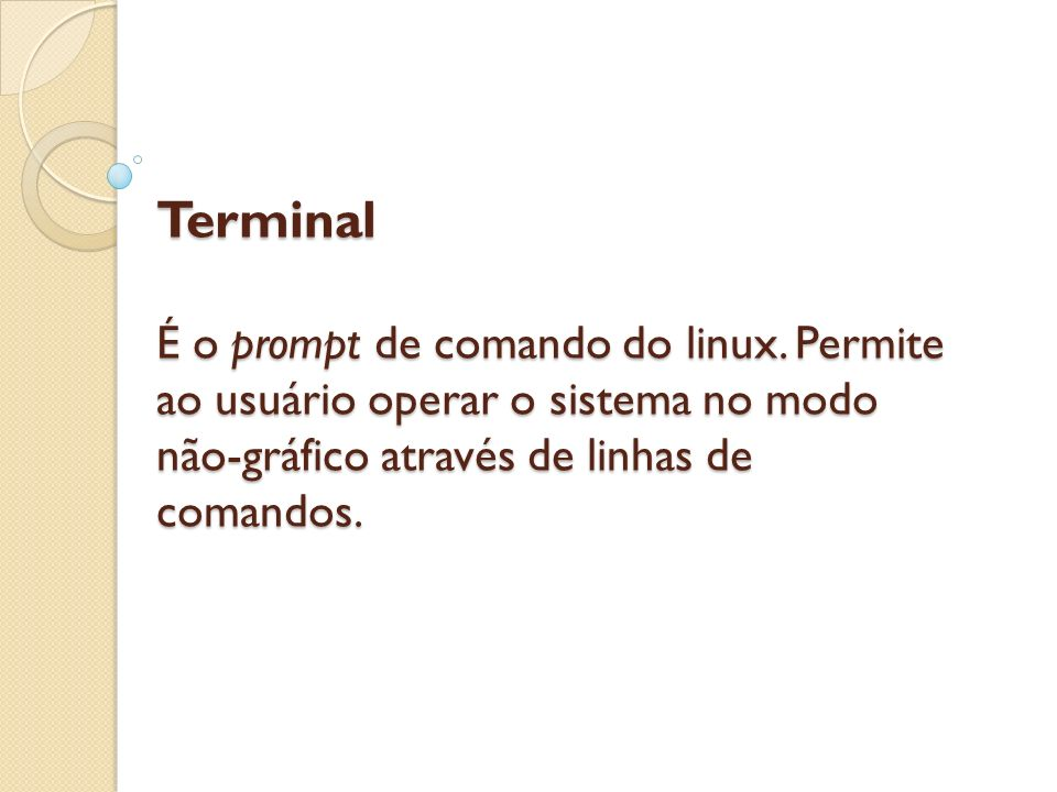 Terminal É o prompt de comando do linux
