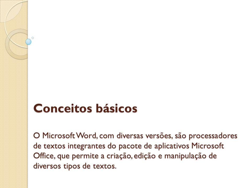 Conceitos básicos O Microsoft Word, com diversas versões, são processadores de textos integrantes do pacote de aplicativos Microsoft Office, que permite a criação, edição e manipulação de diversos tipos de textos.