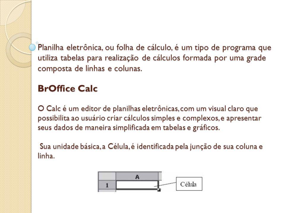 Planilha eletrônica, ou folha de cálculo, é um tipo de programa que utiliza tabelas para realização de cálculos formada por uma grade composta de linhas e colunas.