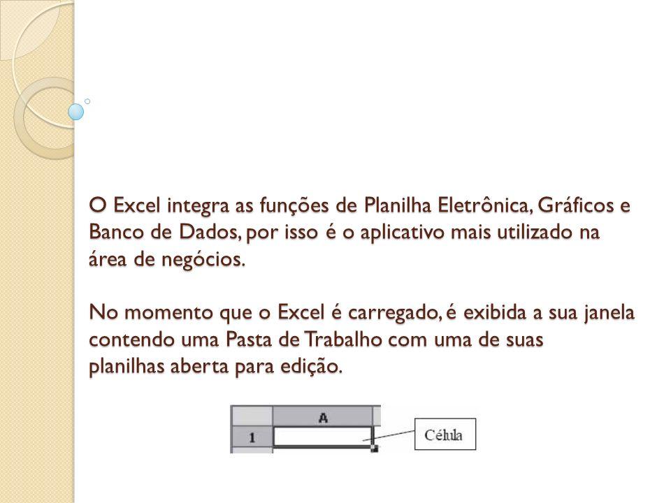 O Excel integra as funções de Planilha Eletrônica, Gráficos e Banco de Dados, por isso é o aplicativo mais utilizado na área de negócios.