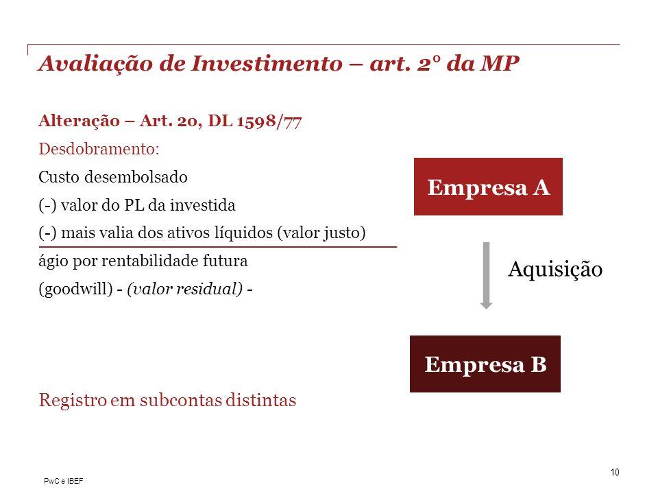 Avaliação de Investimento – art. 2° da MP