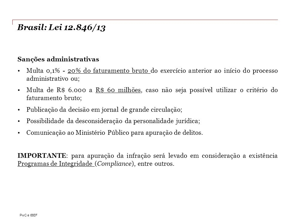 Brasil: Lei 12.846/13 Sanções administrativas