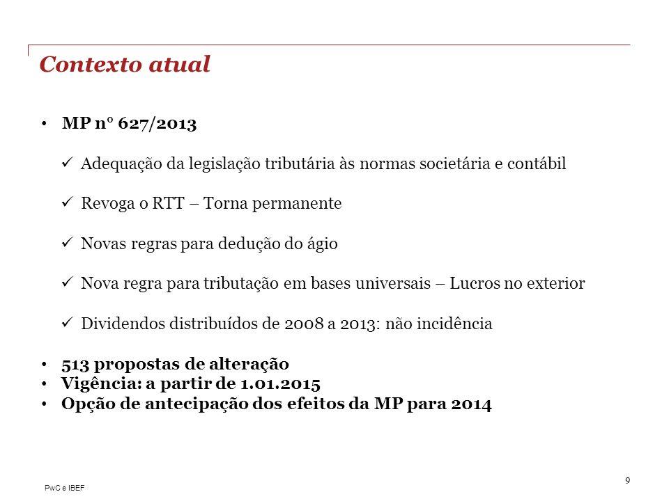 Contexto atual MP n° 627/2013. Adequação da legislação tributária às normas societária e contábil.