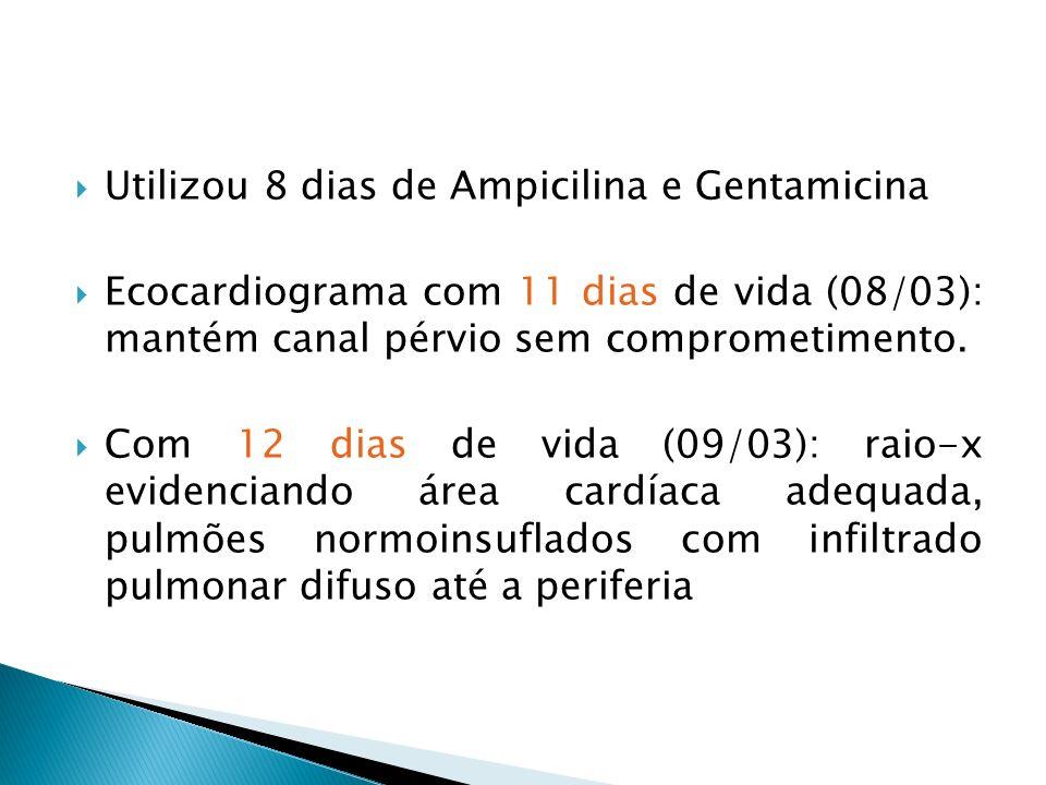 Utilizou 8 dias de Ampicilina e Gentamicina