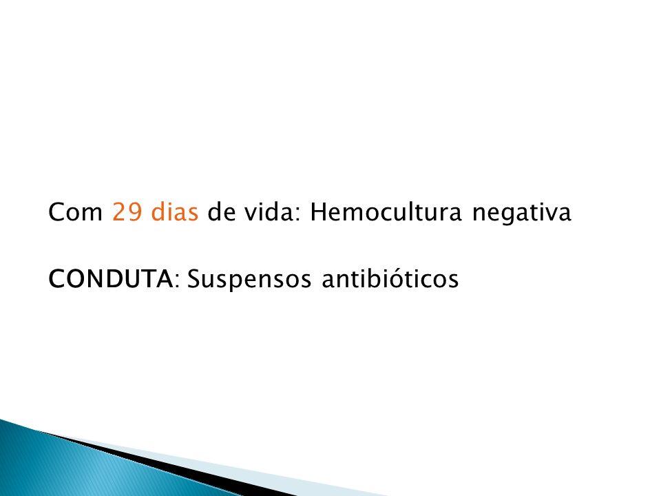 Com 29 dias de vida: Hemocultura negativa