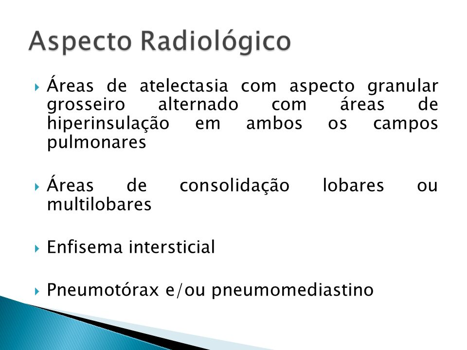 Áreas de atelectasia com aspecto granular grosseiro alternado com áreas de hiperinsulação em ambos os campos pulmonares