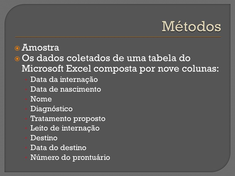 Métodos Amostra. Os dados coletados de uma tabela do Microsoft Excel composta por nove colunas: Data da internação.