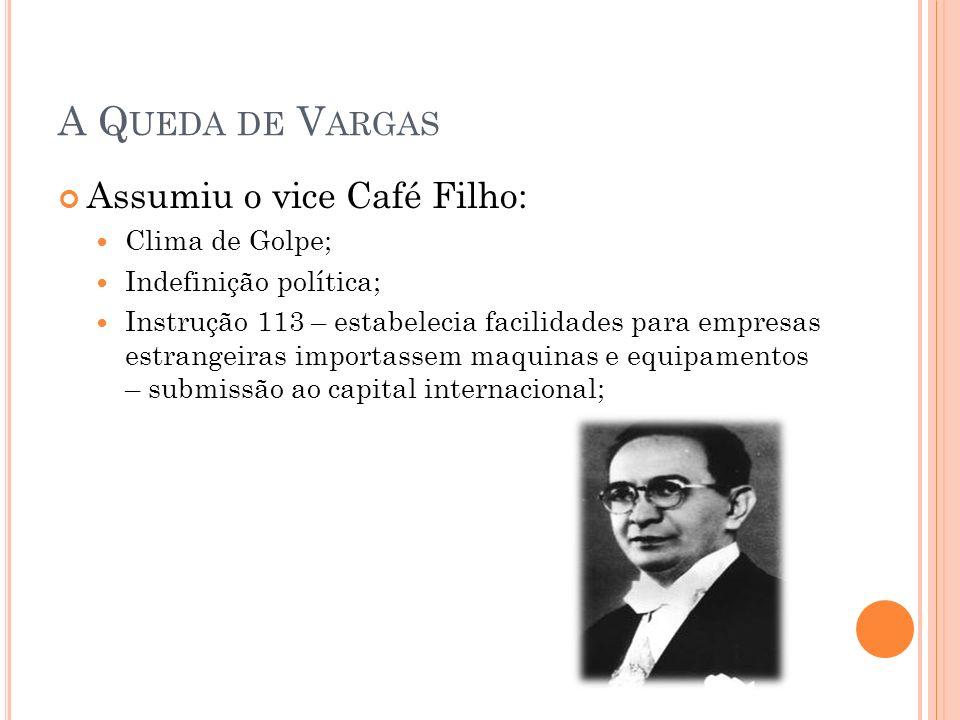 A Queda de Vargas Assumiu o vice Café Filho: Clima de Golpe;