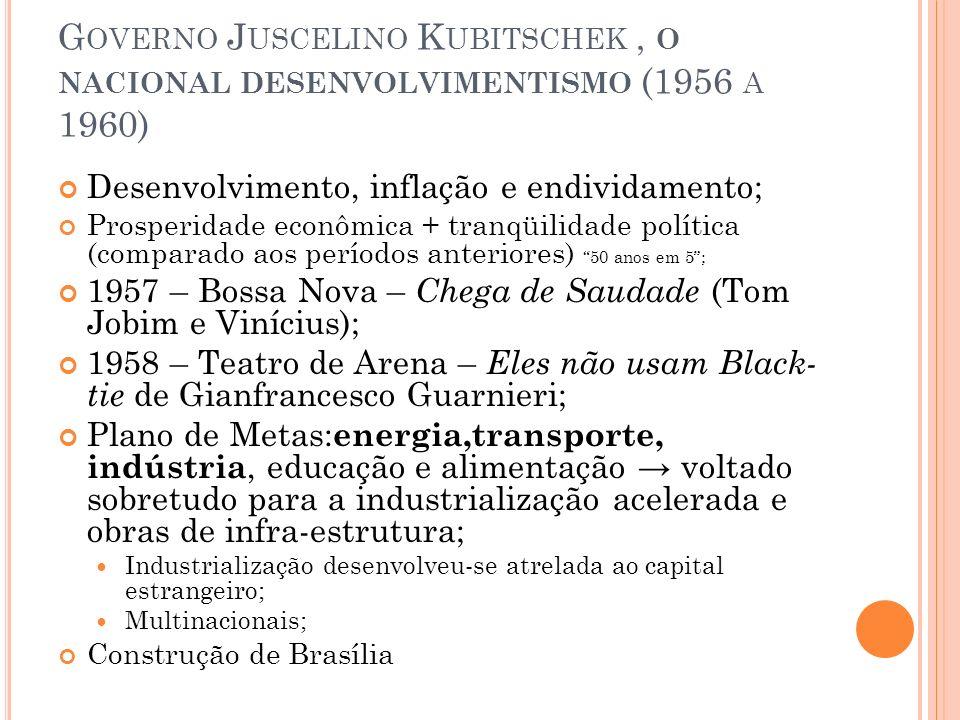 Governo Juscelino Kubitschek , o nacional desenvolvimentismo (1956 a 1960)