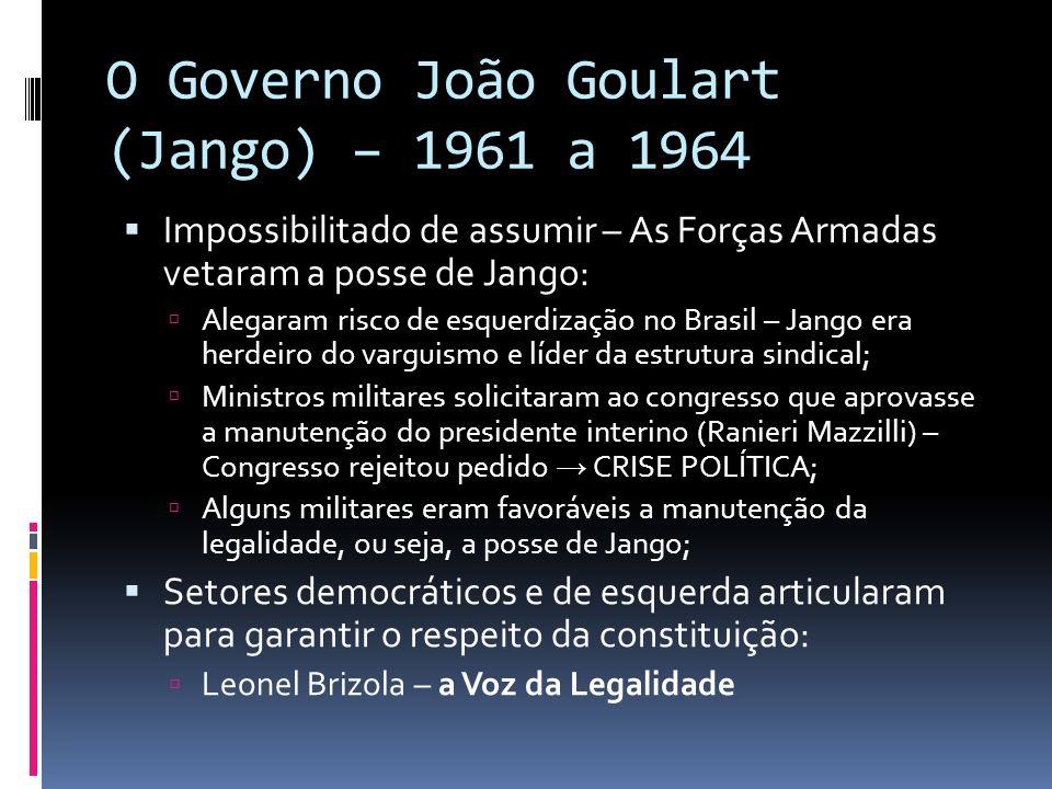 O Governo João Goulart (Jango) – 1961 a 1964