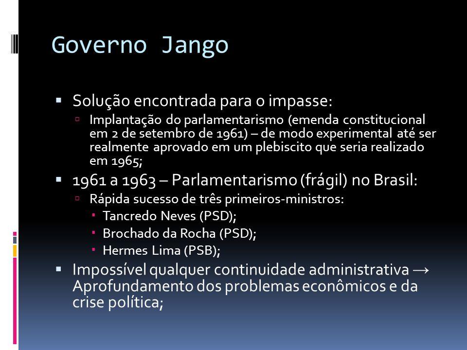 Governo Jango Solução encontrada para o impasse: