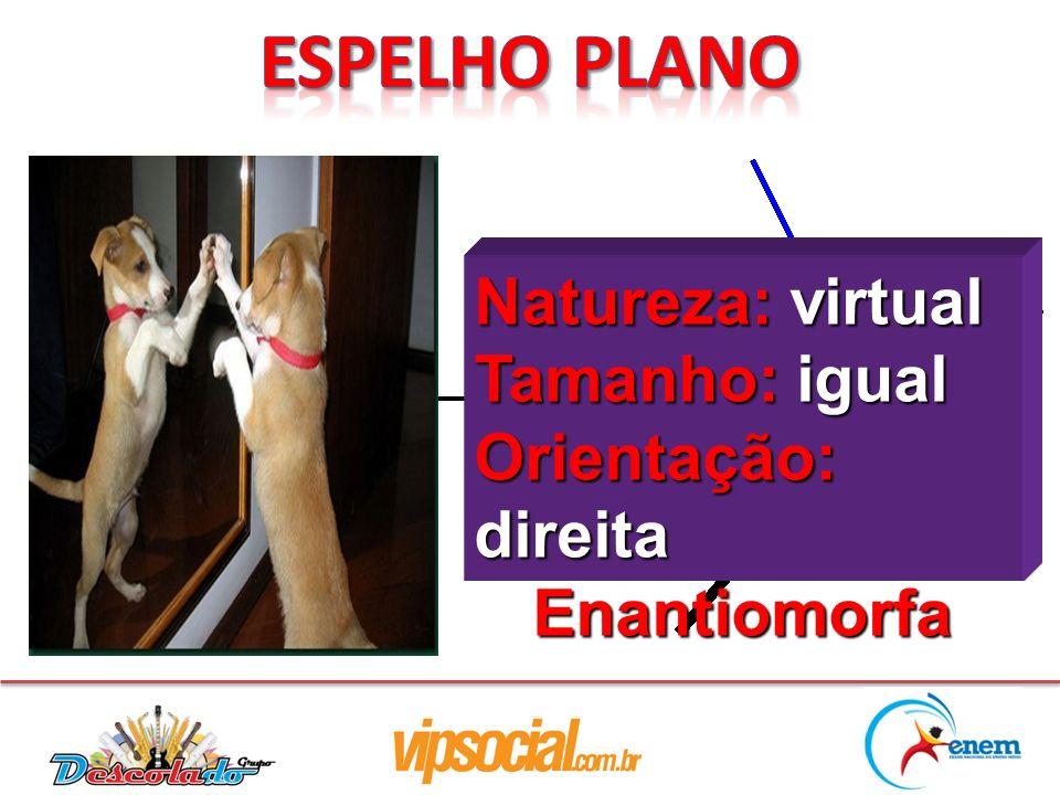 Espelho Plano Natureza: virtual Tamanho: igual Orientação: direita