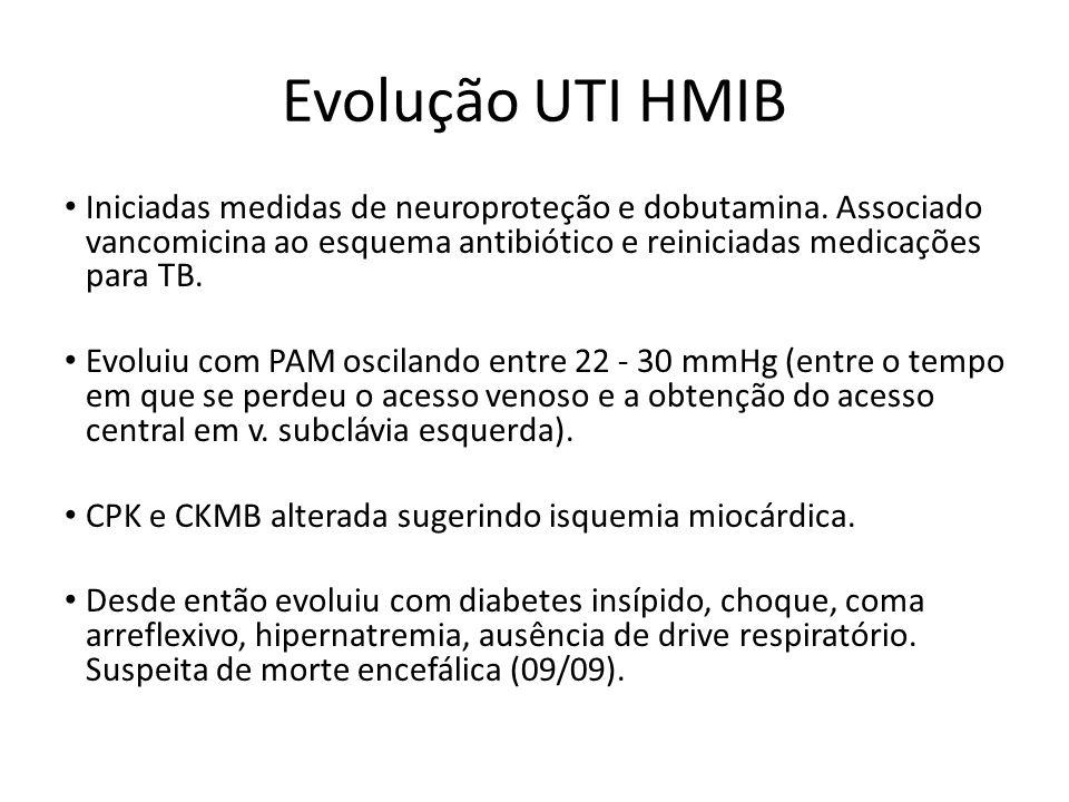 Evolução UTI HMIB Iniciadas medidas de neuroproteção e dobutamina. Associado vancomicina ao esquema antibiótico e reiniciadas medicações para TB.