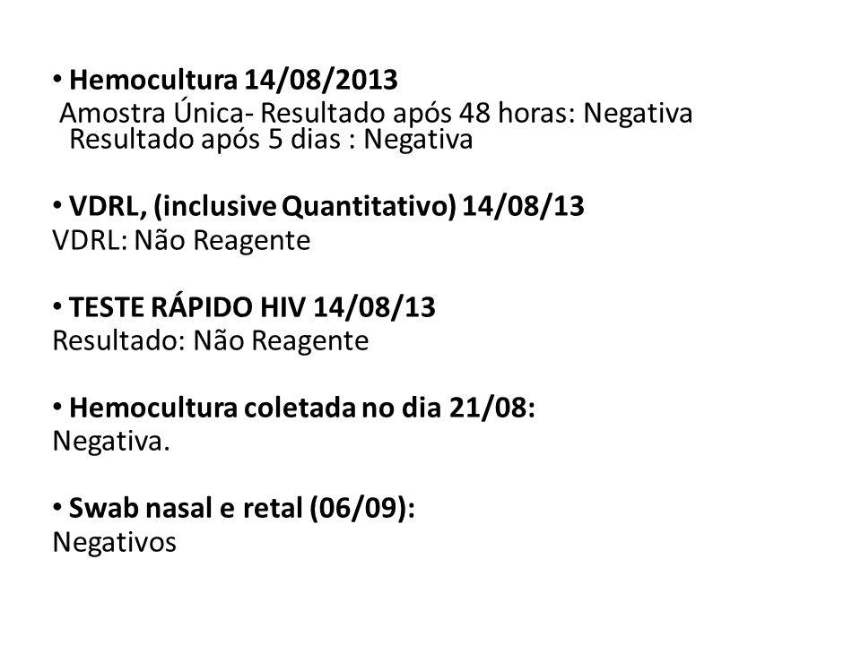 Hemocultura 14/08/2013 Amostra Única- Resultado após 48 horas: Negativa Resultado após 5 dias : Negativa.