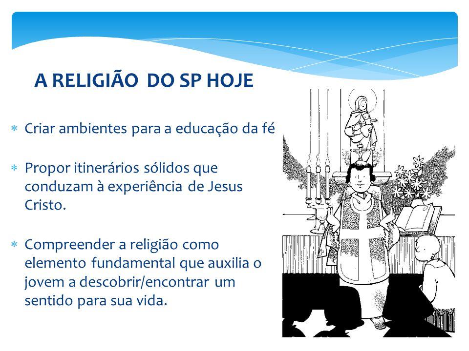 A RELIGIÃO DO SP HOJE Criar ambientes para a educação da fé