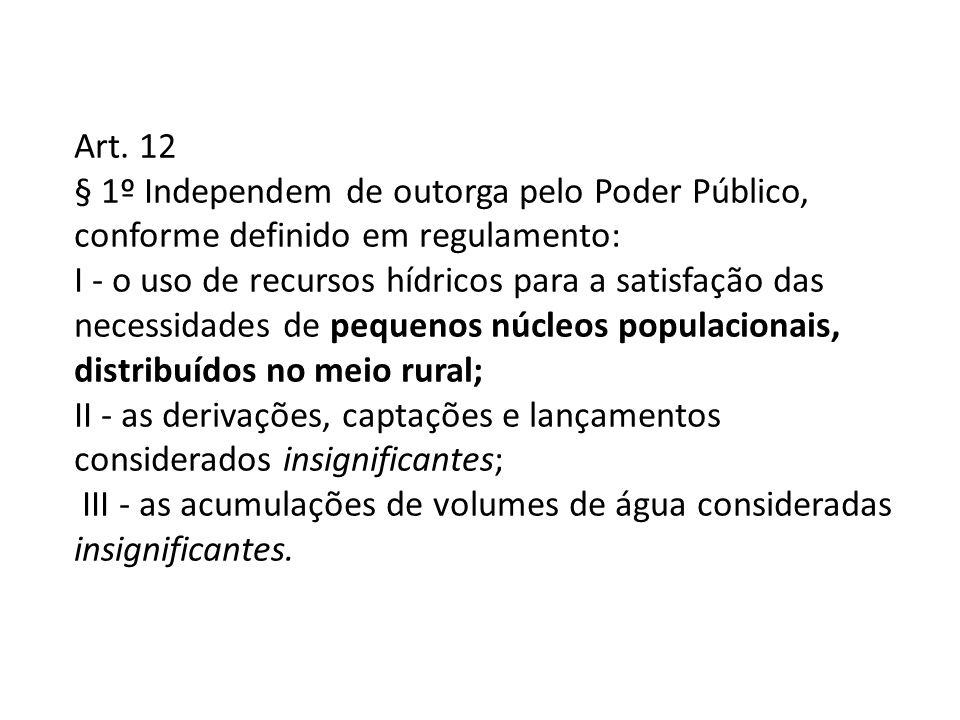 Art. 12 § 1º Independem de outorga pelo Poder Público, conforme definido em regulamento: