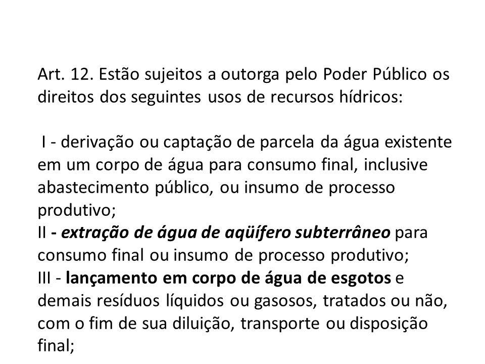 Art. 12. Estão sujeitos a outorga pelo Poder Público os direitos dos seguintes usos de recursos hídricos: