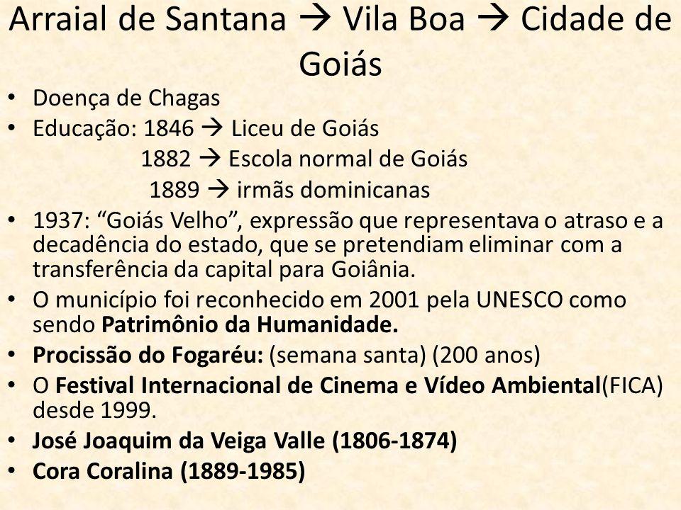 Arraial de Santana  Vila Boa  Cidade de Goiás