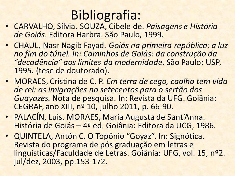 Bibliografia: CARVALHO, Sílvia. SOUZA, Cibele de. Paisagens e História de Goiás. Editora Harbra. São Paulo, 1999.