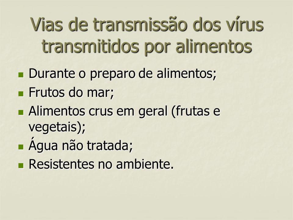 Vias de transmissão dos vírus transmitidos por alimentos
