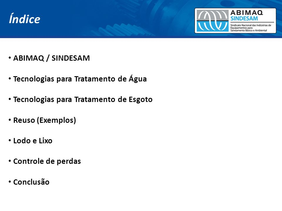Índice ABIMAQ / SINDESAM Tecnologias para Tratamento de Água
